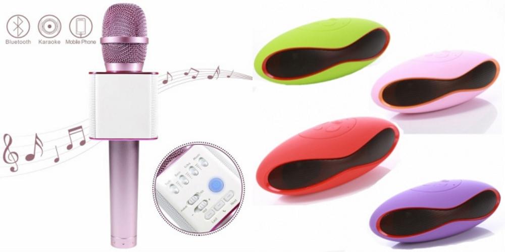 Mirza Q7 Portable Wireless Karaoke Microphone Handheld Condenser Microphone Inbuilt Speaker Microphone and bluetooth speaker  Ru gby Speaker , Ru gby Style Bluetooth Wireless Calling Speakers   for SAMSUNG GALAXY GRNAD MAX