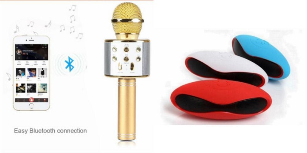 Mirza Q7 Portable Wireless Karaoke Microphone Handheld Condenser Microphone Inbuilt Speaker Microphone Vivo V5s