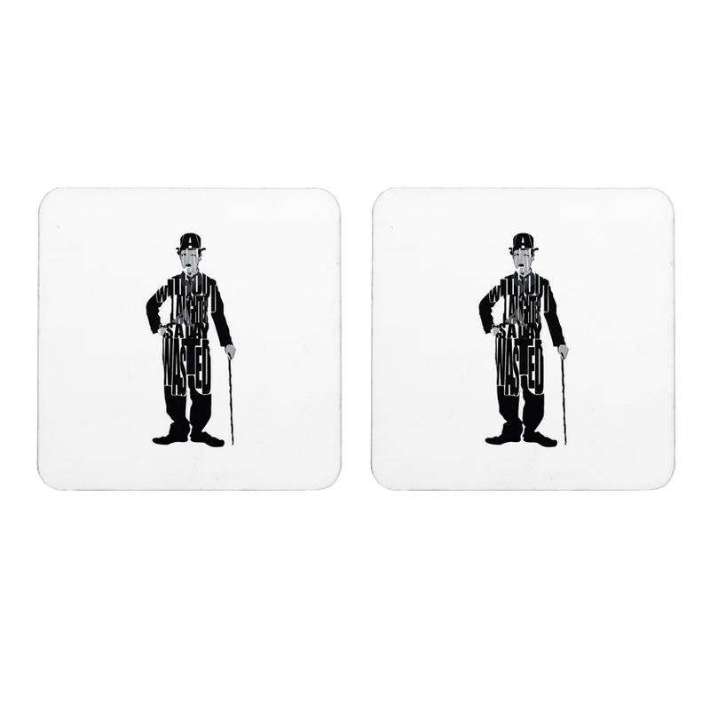 Mooch Wale Charlie Chaplin A Day Without Laughter Is A Day Wasted Square Wooden Coaster