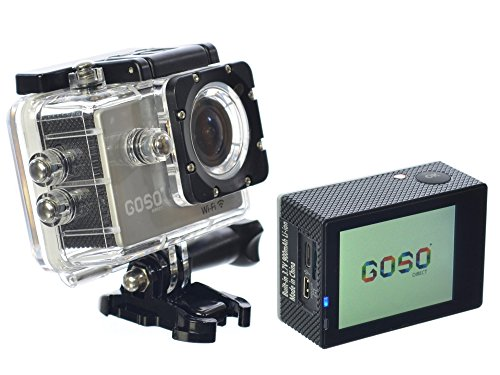 GOSO Waterproof Sport Action Camera, Wi Fi HD 1080P 12MP 170 Degree View Angle 2.0 inch LCD with Mounting Accessories