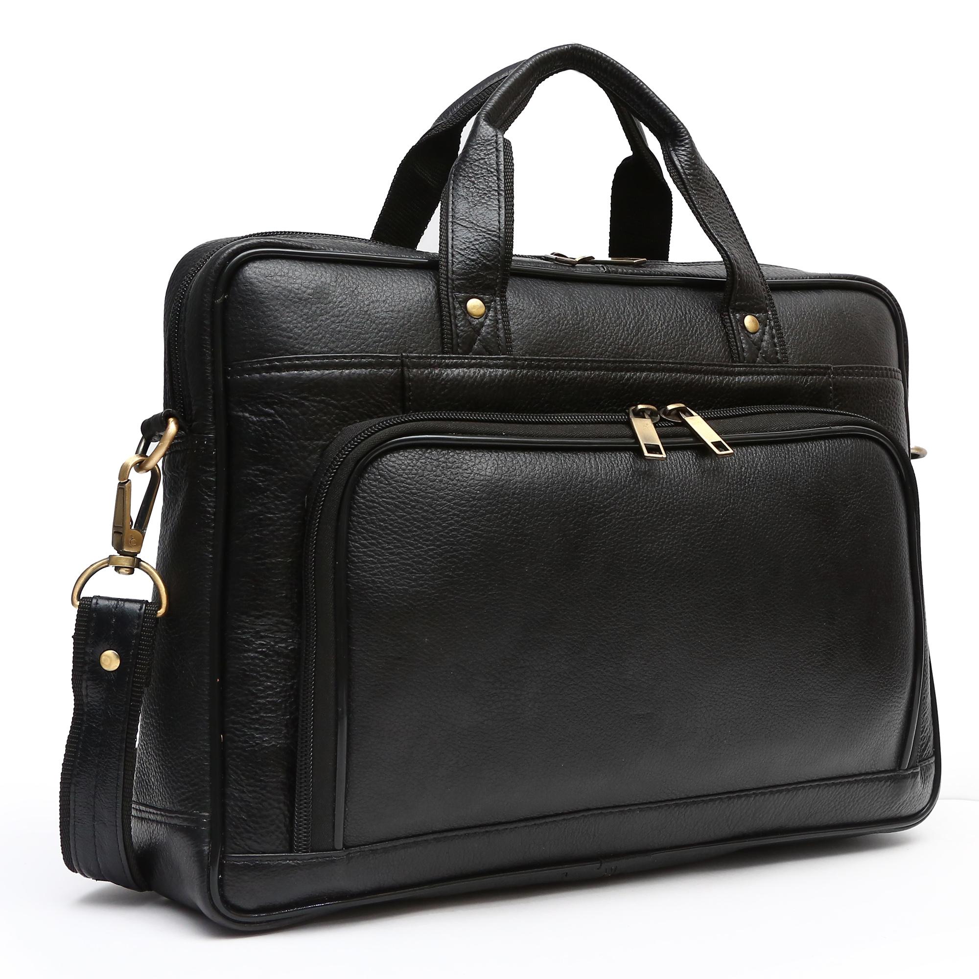 Golden Leaf 14 inch Laptop Messenger Bag  Black