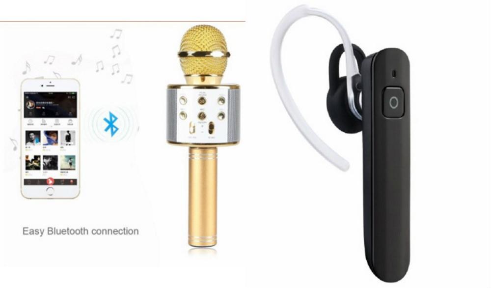 Mirza Q7 Portable Wireless Karaoke Microphone Handheld Condenser Microphone Inbuilt Speaker Microphone and Bluetooth Headset  HM 1100 Bluetooth Headset, Wireless Music Bluetooth Headset With Mic for SONY txt