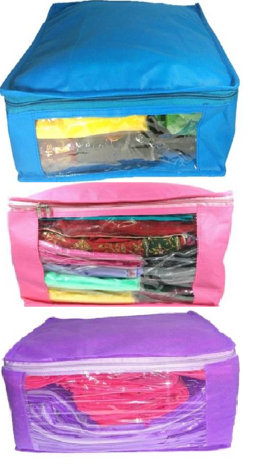 DIMONSIV Plain 10 Inch Ladies Large Non   Woven 3saree Cover. Upto 10   15 Saree Cover each  Pink,Purple,Blue