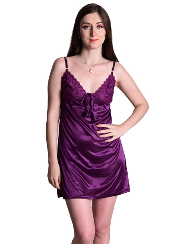 Senslife women satin solid short nighty nightwear nightdress SL014