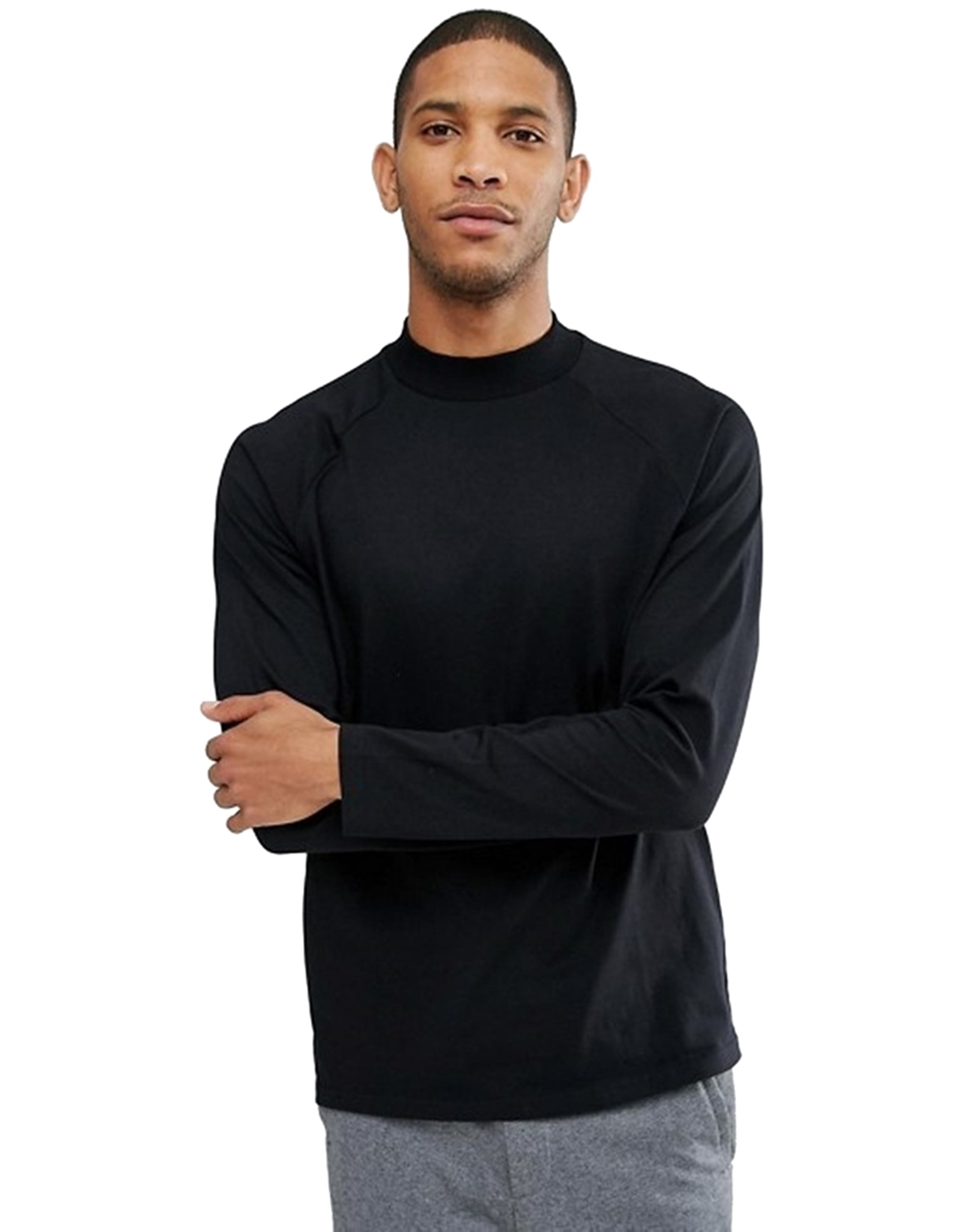 PAUSE Black Solid Cotton Mock Neck Slim Fit Long Sleeve Men's T Shirt