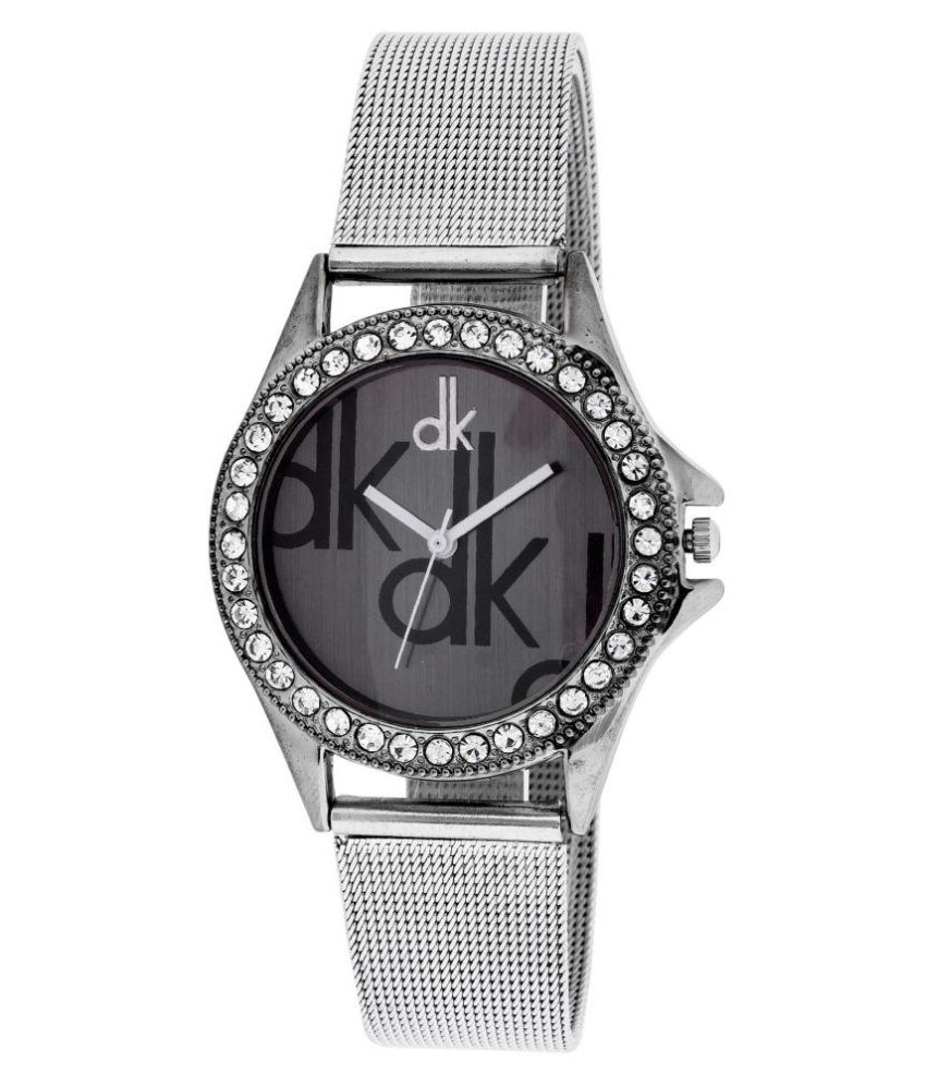 Dk Silver Black Dial Analogue Watch for Girls and Women