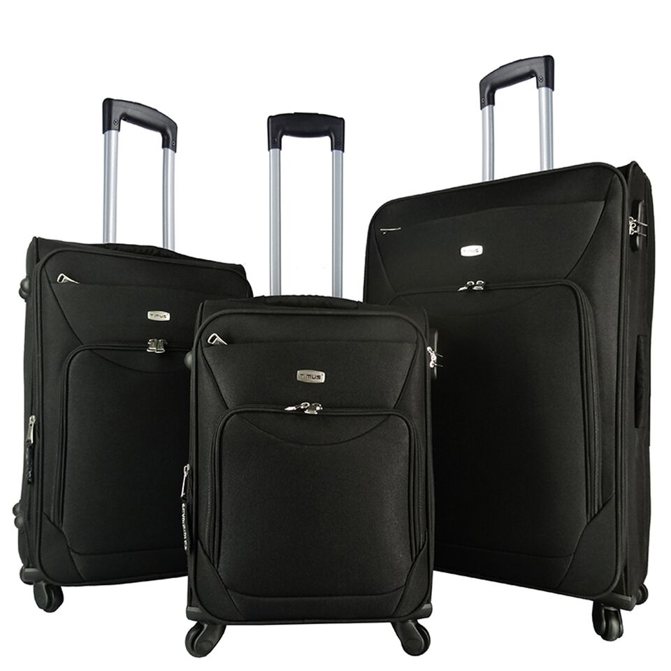 Timus Upbeat Spinner 4 Wheel Strolley Suitcase SET OF 3 Expandable Cabin and Check in Luggage   28 inch  Black
