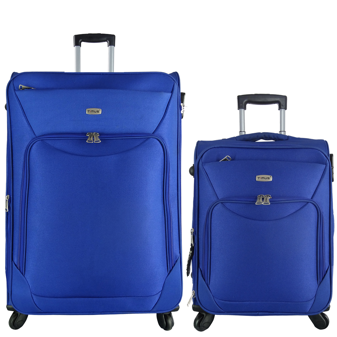 Timus Upbeat Spinner Blue 55   75 cm 4 Wheel Strolley Suitcase SET OF 2 Expandable Cabin and Check in Luggage   28 inch  Blue