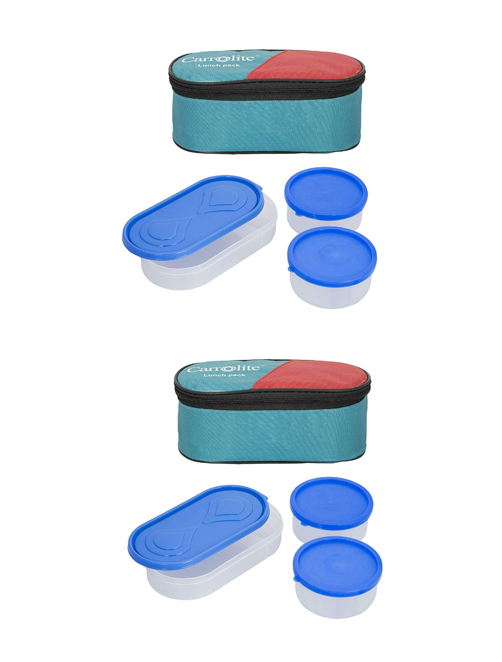 Set Of 2 Green 3 in 1 Lunchbox 2 Plastic Container 1 Plastic Chapati tray