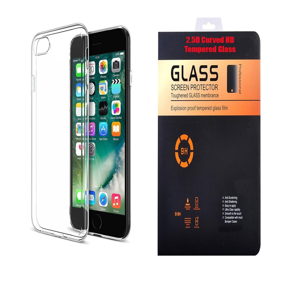 Motorola Moto E4 Plus Soft Transparent TPU Back Cover with 9H Curved Edge HD Tempered Glass