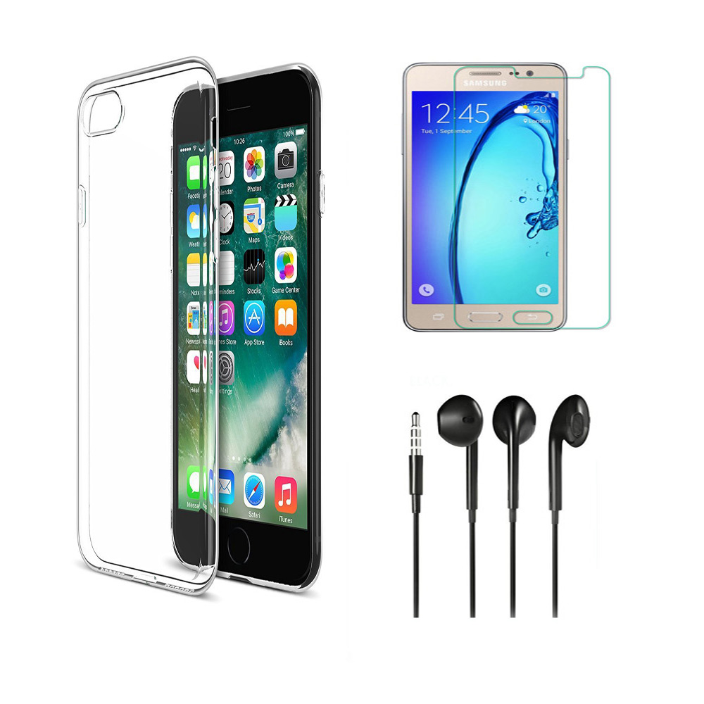 Samsung Galaxy On7 Soft Transparent TPU Back Cover with 9H Tempered Glass and Noise Cancellation Earphones with Mic