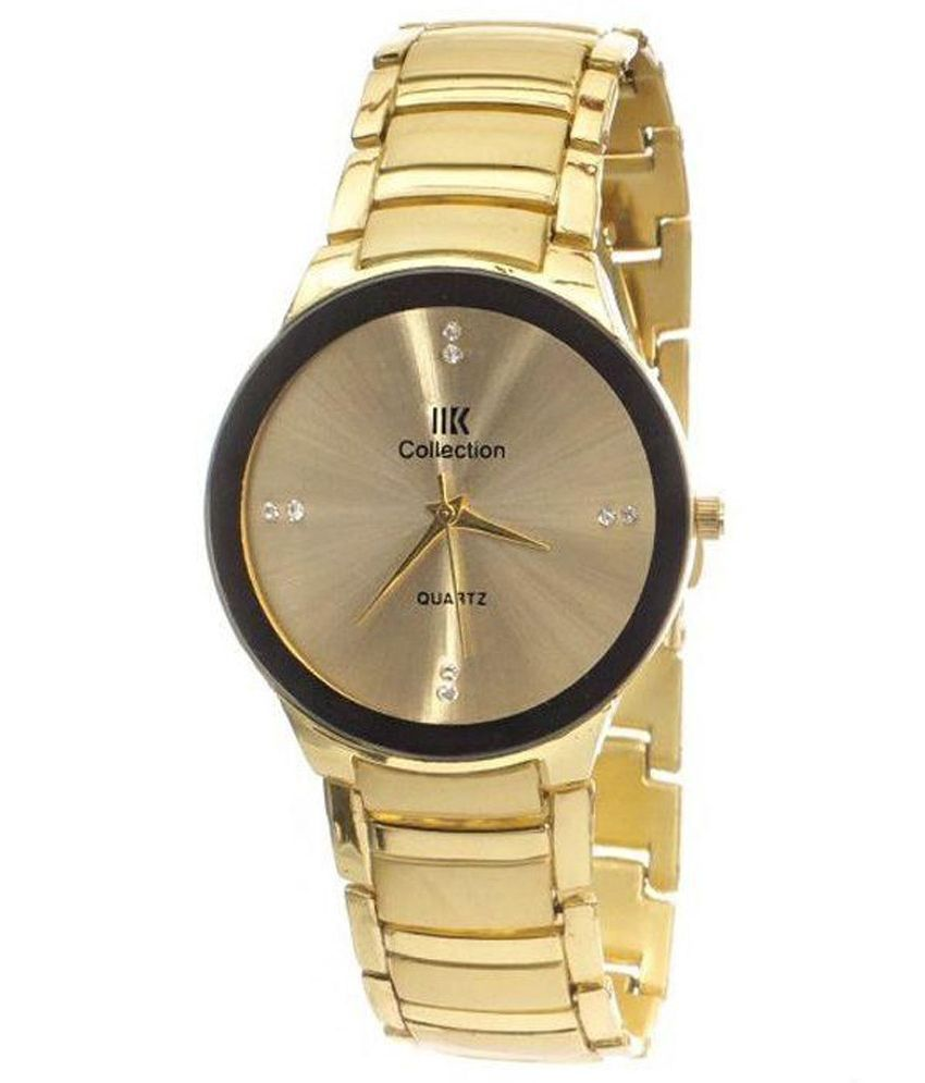 Iik Collection Round Dial Gold Analog Watch for Men