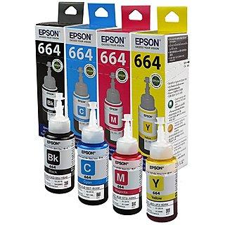 Ink Bottles  Set of 4 t664 epson Epson Ink T6641 Black Ink Pack of 3 For L100/L110/L200/L210/L300/L350/L355/L550