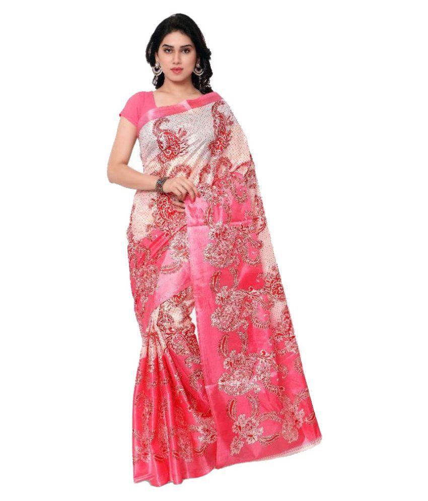 SVB Sarees Pink Printed Taffeta Paper Silk Saree Without Blouse