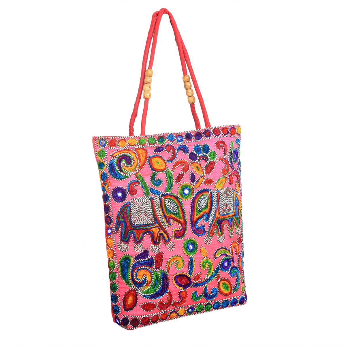 Kuber Industries Ethnic Embroidry Work Shoulder Bag  Pink    BG5