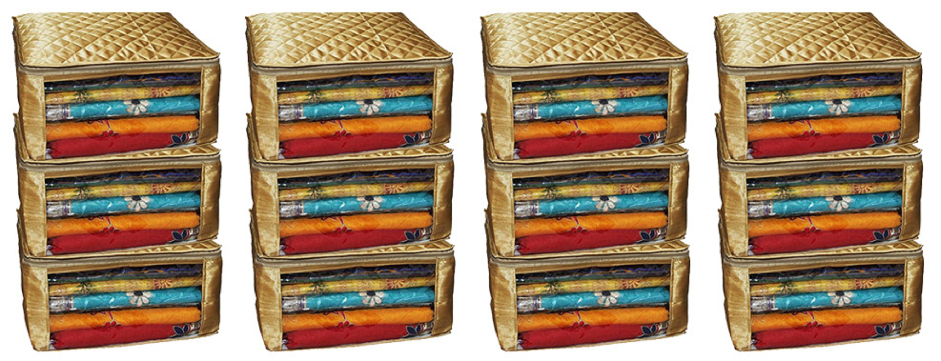 Kuber Industries Saree Cover Large Size In Golden Satin Material Set of 12 Pcs With Capacity of upto 15 Sarees each  Wedding Gift  KISC06