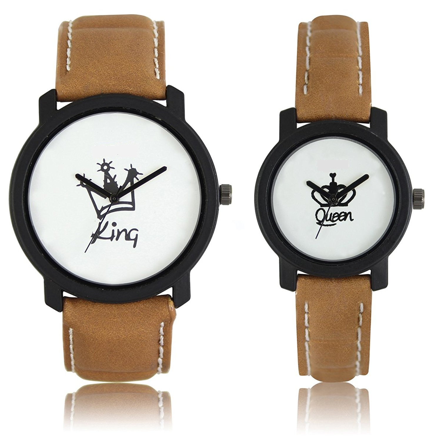 5star Round Dial Brown Leather Strap Analog Men's Women's Couple Watch   Lr King Queen