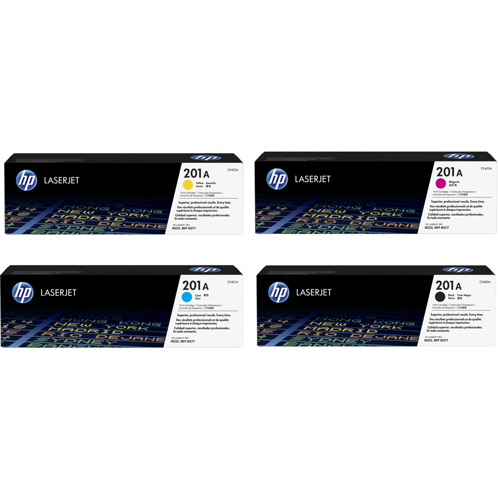 HP 201A Black/Cyan/Magenta/Yellow Toner Cartridges 4 pack HP Color LaserJet Pro M252 MFP M277