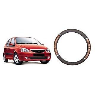 Vheelocity Wodden Design Car Steering Cover for Tata  Indica