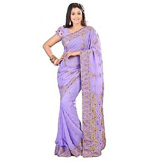 Triveni Purple Faux Georgette Embroidered Saree With Blouse
