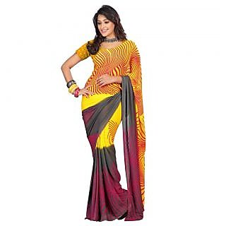 Triveni Yellow Georgette Self Design Saree With Blouse
