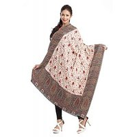 Off White And Brown Woolen Jacquard Shawl
