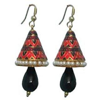 Indianpasand Meenakari Coneshaped earring With Black Bead(MEML10B)