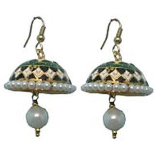 Indianpasand Meenakari Multicolor Jhumki earring with White Bead(MEML12W)