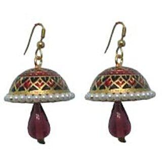 Indianpasand Meenakari Multicolor Jhumki earring with Purple Bead(MEML15P)