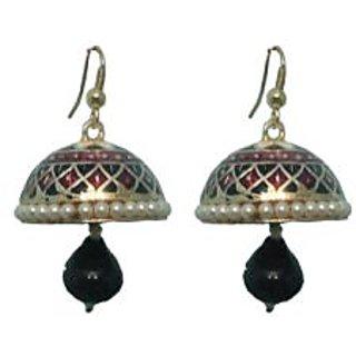 Indianpasand Meenakari Multicolor Jhumki earring with Black Bead(MEML16B)