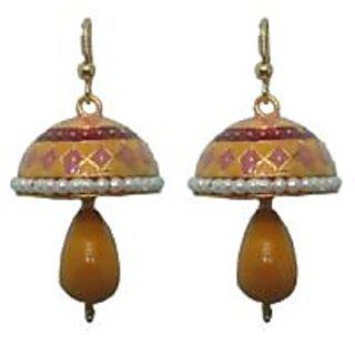 Indianpasand Meenakari Ethnic Jhumki earring with Yellow Bead(MEML17SN)