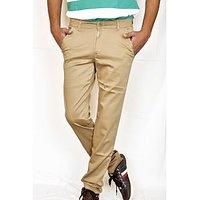 Routeen Men's Tan Regular Fit Formal Trousers