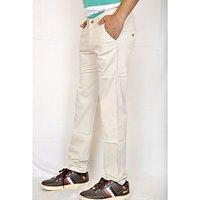 Routeen Men's Beige Regular Fit Formal Trousers