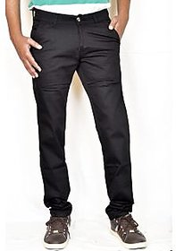 Routeen Men's Black Regular Fit Formal Trousers