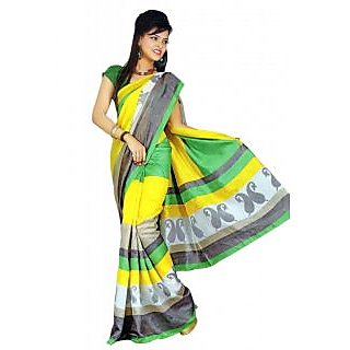 Suchi Fashion Green And Yellow Jaquard Printed Saree
