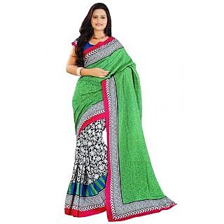 Suchi Fashion Green Art Silk Printed Saree