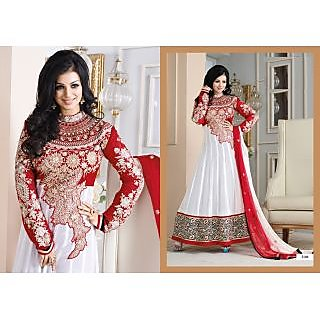 8c5c86d88f32 Ayesha Takia Red White Anarkali Party wear Suit (Unstitched)