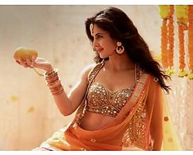 Orange Lehenga with Mirror Work Choli worn by Katrina Kaif - Bollywood