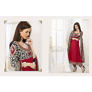Ladies Cotton Semi-Stitched Suit Black And Red