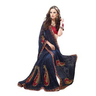 Alira Black Kanchipuram silk Self Design Saree With Blouse