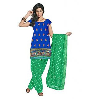 Glazed Cotton Fabric Traditional Embroidery Work Dress Material (Unstitched)