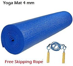 YOGA MAT 4 MM + FREE SKIPPING ROPE WOODEN