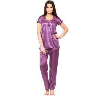 Sukuma PURPLE 2 Pc Satin Night Wear