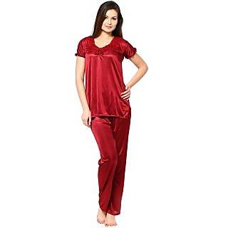7f2438b2d5 Buy Sukuma Maroon 2 Pc Satin Night Wear Online- Shopclues.com
