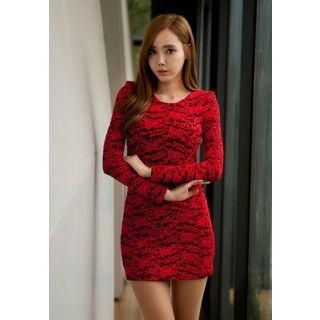 5bc61e53875b Red Lace Full Sleeve Short Bodycon Dress In India - Shopclues Online