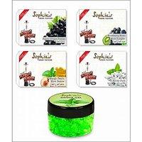 4 Different Hookah Flavours 50 Grams Each + Free 1 X 50 Gram Hookah Gel Flavour 003B