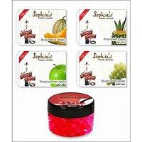 4 Different Hookah Flavours 50 Grams Each + Free 1 X 50 Gram Hookah Gel Flavour 003D