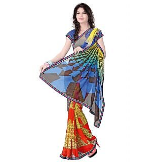 Venisa Printed Casual Wear Georgette Saree With Un-Stitched Blouse