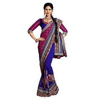 Alira Black & Maroon Raw Silk Self Design Saree With Blouse