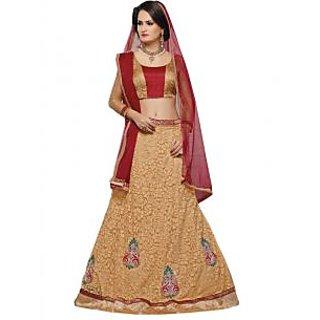 Suchi Fashion Golden & Red Net Brasso Semi-Stitched Lehenga